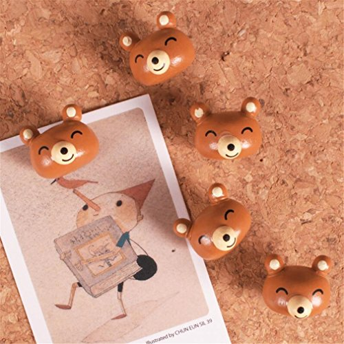 5PCS Cute Decorative Pushpins Creative Cartoon Animals Wood Thumbtacks Map Tacks for Cockboard, Bulletin Board,Photo Wall,Home,Office(5PCS Brown Bears)