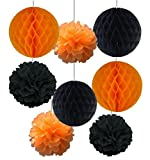 Halloween Party Decorations Hanging Paper Balls Orange & Black 4pc (Small Image)