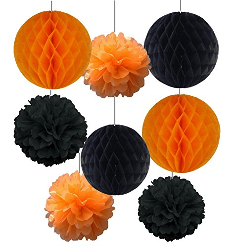 SUNBEAUTY Halloween Series Halloween Decoration 4pcs Orange and Black Honeycomb Balls Mixed 4 pcs Orange and Black Paper Flower Tissue Pompoms Halloween Accessory Party Decoration (Black And Orange Party Decorations)