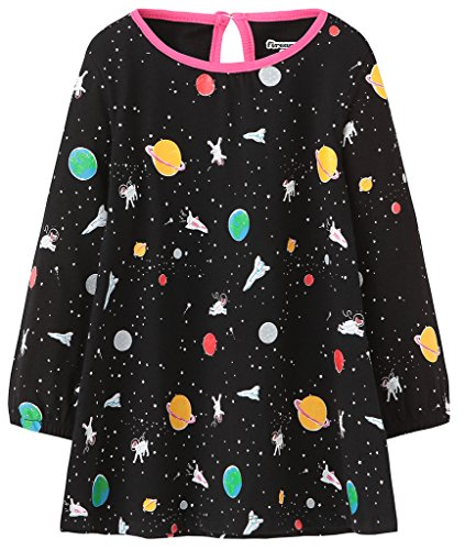 Fiream Girls Cotton Longsleeve Party Dresses Special Occasion Cartoon Print by - Sleeve Long Special Dresses Occasion
