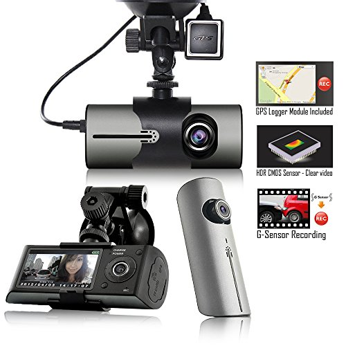 "Indigi XR300 Dash CAM + 2.7"" HD LCD + Dual Lens  + GPS Googl"