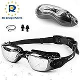 Swimming Goggles Adult Children Mens - Zerhunt Black Mirror Swim Goggles Anti Fog with UV Protection...