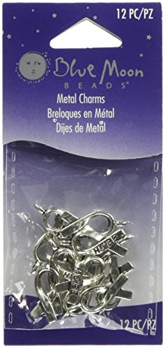 Blue Moon Silver Charm (Blue Moon Silver Plated Metal Charms, Hope Ribbon, 12/Pkg)