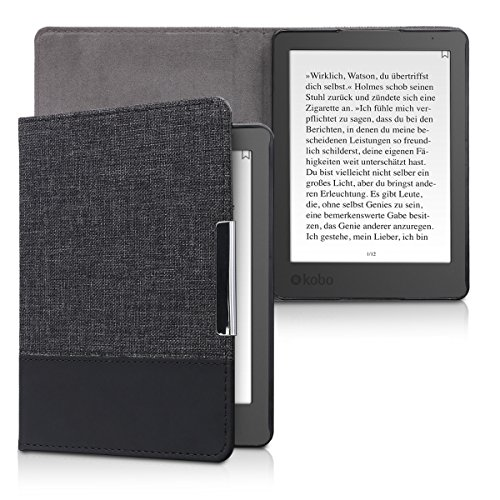 kwmobile Case Compatible with Kobo Aura Edition 2 - PU Leather and Canvas e-Reader Cover - Grey/Black