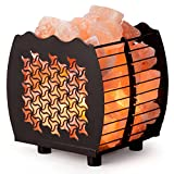 Crystal Decor Natural Himalayan Hybrid Wired Cube Basket Pink Salt Lamp in a Modern and Contemporary Design with Dimmable Cord - Tristar