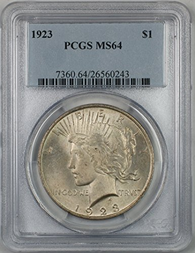 1923 Peace Silver Dollar Coin $1 PCGS MS-64 Light Toning (2A)