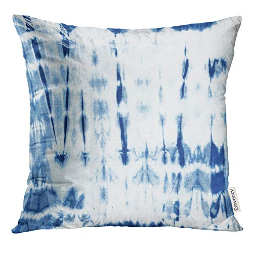 TOMKEYS Throw Pillow Cover Blue Ink Abstract Batik Tie Dyed of Indigo Color on White Hand Dye Fabrics Shibori Dyeing Navy Artistic Decorative Pillow Case Home Decor Square 16x16 Inches - Batik Dyed Hand Fabric