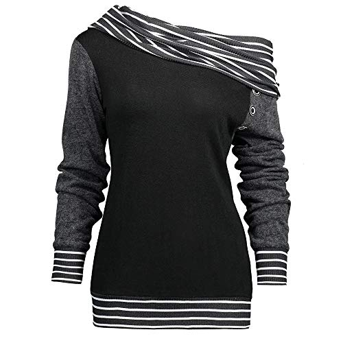 Sunhusing Womens Skew Neck Long Sleeve Striped Stitching Scarf Collar Button-Down Sweater Sweatshirt Blouse ()