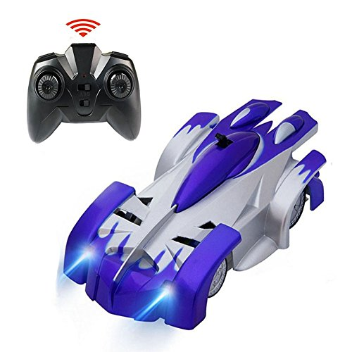 Tuptoel Wall Climbing Car RC Remote Control Car Toys Rechargeable Sport Racing Vehicle for Kids Boys Gift with Mini Zero Gravity 360° Stunt Car – Blue