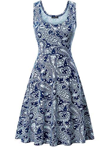 FENSACE Womens Sleeveless Summer Beach Paisley Dress, 18016-3, Large