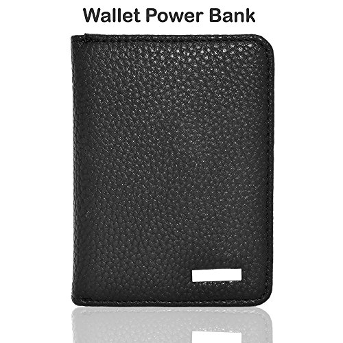 Portable Wallet (4000mAh Ultra-Thin Wallet Sized Portable USB External Battery Charger Built-in Lightning & Micro USB Cable for USB-Charged Devices Black)