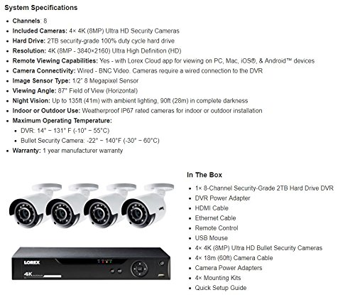 Lorex LHV51081T4KB 8-Channel, 4-Camera Indoor/Outdoor Wired 1TB DVR Security System