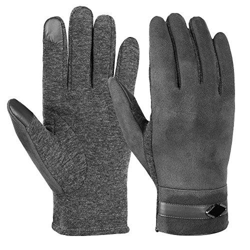 Vbiger Men Winter Touch Screen Warm Gloves Touch Screen Gloves Casual Gloves Sports Gloves for Men (L, Grey)