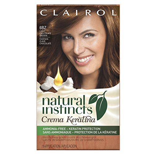 Permanent Hair Coloring Cream (Clairol Natural Instincts Keratina Hair Color 6BZ Hazelnut Cream Kit, Light Chocolate Brown)