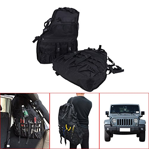 - BOXWELOVE Pair Roll Bar Storage Bag Backpack for 4-Door Jeep Wrangler JK & Unlimited 2007-2017