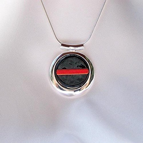THIN RED LINE Firefighters Round Pendant Silver Bezel Fused Glass Jewelry (Black Fused Glass Pendant)