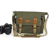 Lavievert Canvas & Genuine Leather SLR DSLR Camera Bag Messenger Shoulder Bag with Shockproof Padded Tank Bag for Digital Cameras, Tablets, Phones, Video Recorder Photography - Green
