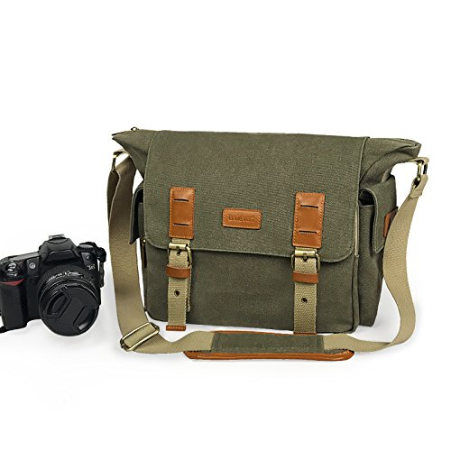 Lavievert Canvas & Genuine Leather SLR DSLR Camera Bag Messe