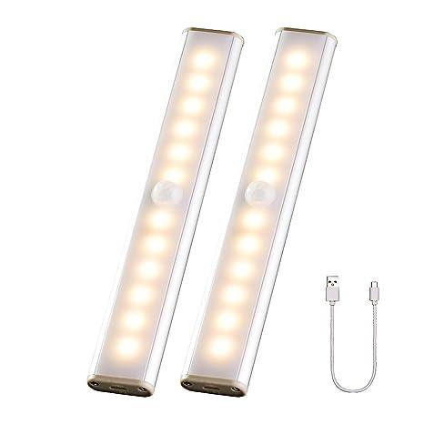 Luz Del Armario Pegarse en Cualquier Lugar, 24 LED Armario con Sensor Movimiento, Tira de Armario Recargable Con 4 Modos, para Guardarropa, Cocina, ...