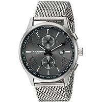 Akribos XXIV Men's Swiss Quartz Multi-function Black Sunray Dial Silver-tone Mesh Stainless Steel Bracelet Watch AK905SSB