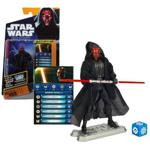 (Hasbro Year 2010 Star Wars Saga Legends Galactic Battle Game 4 inch Tall Action Figure - SL08 DARTH MAUL with Double-Bladed Lightsaber, Secret Weapons, Battle Game Card, Die and Figure)