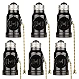 Onite 6PCS E26 to E26 US Standard Screw Socket Adapter with Pull Chain Light Control and 2 Outlet, Black
