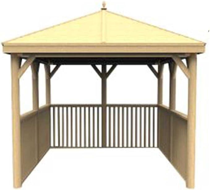 Cenador cuadrado de madera con techo de madera tradicional, sin base, de bosque 3, 5 m: Amazon.es: Jardín
