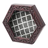 Hallmark Home Unique Shadow Box with Glass Front and Magnetic Closure, Dark Wood Hexagon with Lattice Pattern