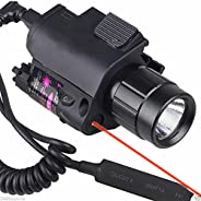 Higoo Tactical Red Laser Dot Sight + 200 Lumen Flashlight Combo with 20mm Weaver Picatinny Rail Mount for Rifl