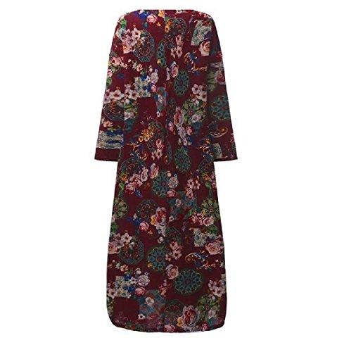 Swing Stampa Lino Size Casuali Plus Vestito Cotone Grande Coolred Vino Abiti Rosso donne w0RqH