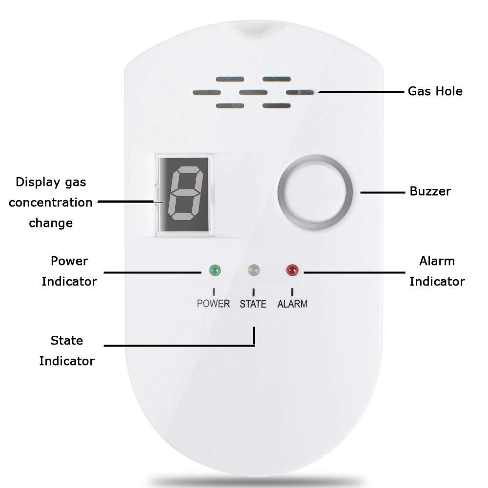 zorvo Plug-in Digital Gas Detector/Gas Alarm Detector/Gas Leak Detector High Sensitivity LPG LNG Coal Natural Gas Leak Detection Alarm Monitor Sensor for Home/Kitchen