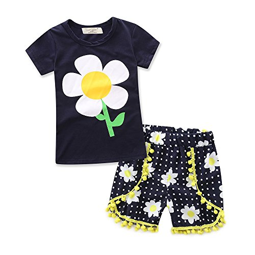 Alisa Dots (samgani baby Girl Cotton Short Sleeve Printing T-Shirt Shorts Dots Pants Suit Kids Clothes Girls Summer Clothing 6M-3Y (Tag;120/4-5Y))