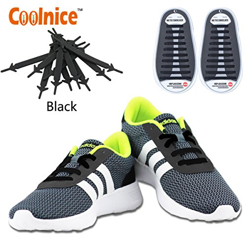 No Tie Elastic Shoelaces by Coolnice®, Silicone Shoe Lace Lock Bands for Kids or Adults 20 Pc DIY for sneakers, boots, running, triathalon- Color of - Triathalon Usa
