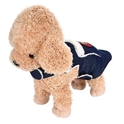Hpapadks Pet Puppy Funny Coat, Dog Pet Warm Cowboy Jacket Puppy Winter Clothes Pet Costume Pet Clothes Dog Denim Pocket Lambskin Coat -