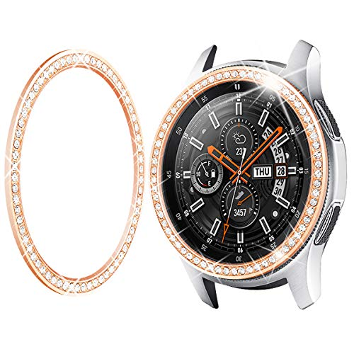 Goton Jewelry Bezel Ring Compatible Samsung Galaxy Watch 46mm Bezel, Gear S3 Frontier Classic, Crystal Bling Diamond Women Men Watch Bezel Cover Protector (46mm,Rose Gold) (Galaxy Cover S3 For Bling)