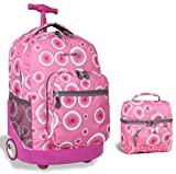 J World Combo Rolling Backpack & Lunch Bag Back to School Bundle Set Sunrise / Corey