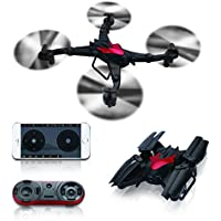 Sproutoy Drone for Beginners with Camera WiFi FPV 4CH 6-Axis Gyro RC Quadcopter With Headless Mode One Key Return Mode Function RTF (Black)