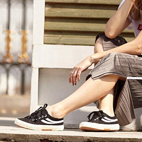 de Cordones Zapatos Lona Unisex XIGUAFR Adulto Negro de 6vxW1n