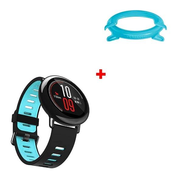 ff1b2307a9ef Soupliebe 1PC Sport Banda de Silicona + 1PC Frame Funda para Reloj  Inteligente AMAZFIT Brazalete Deportivo Banda reemplazo con Hebilla   Amazon.es  Ropa y ...