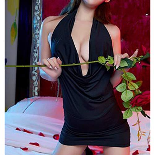 Simayixx Women's Nightgown Cotton Nightwear Slim Sleepwear Lingerie Lace Mini Dress Sexy V Neck Pajama Camisole Blouses Black by Simayixx (Image #2)