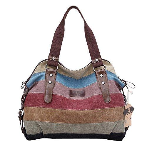 Hot Koolertron Fashion Vintage Women's Shoulder Color block Bag Canvas Tote Messenger Lady's Handbag Purse