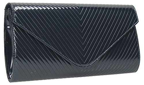 Viola V Quilt Detail Envelope Style Patent Leather Smart Evening Clutch Bag Navy Blue