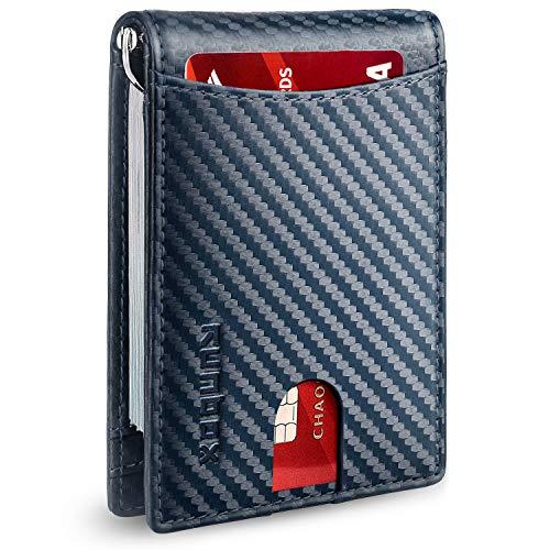 RUNBOX Minimalistische schlanke Geldbörse für Männer mit Geldklammer RFID-blockierende Vordertasche Leder Herren Geldbörsen - Blau - Small
