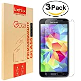 3 Pack Galaxy S5 Screen Protector, Leathlux Premium Tempered Glass Rounded Edge [Bubble Free] [Anti-Scratch] [Easy Install] [HD] Ultra-Slim Clear Screen Protector for Samsung Galaxy S5 G900/S5 Neo