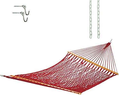 Castaway Living 10 ft. Traditional Hand Woven Red Polyester Rope Hammock