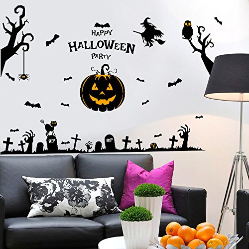 Warmoor DIY Art Decal Waterproof Wall Stickers, Removable Peel & Stick Wallpaper, Halloween Pumpkin Ghost Witch For Kids, Living Room Bedroom Decor (Hlloween) (Halloween Pumpkins Wallpaper)