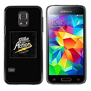 Paccase / SLIM PC / Aliminium Casa Carcasa Funda Case Cover - Time Action Gold Poster Black Electric - Samsung Galaxy S5 Mini, SM-G800, NOT S5 REGULAR!