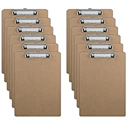 12 Clipboards - Hardboard - Flat Clip - 9\