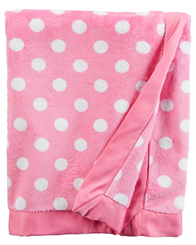 Carter's Baby Girls Plush Blanket Supersoft with Satin Trim 40' x 30' Polka Dot