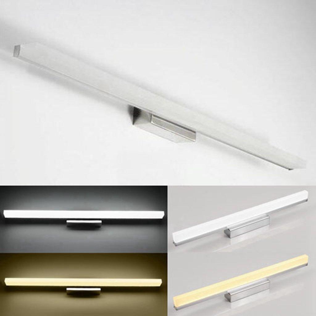BiuTeFang 24W LED Spiegelleuchten Schranklampe,Moderne Wasserdicht Badbeleuchtung AC85-265V IP44 Spiegel Lichter Energieklasse A++ WC Edelstahl Wandleuchte Kaltweiß 120cm